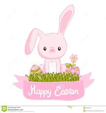 happy easter cartoon cute bunny and eggs royalty free stock photo
