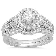 Circle Diamond Wedding Ring by Amazon Com 0 98 Carat Ctw 14k White Gold Round White Diamond