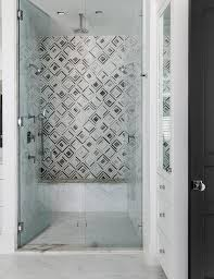 glass walk in shower with ornate shower door handle transitional