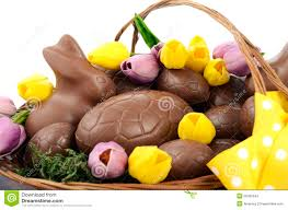 easter chocolate bunny easter chocolate of eggs and bunny rabbits stock photo