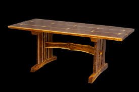 wood slab table legs live edge walnut slab trestle table duane shoup woodcraftsman
