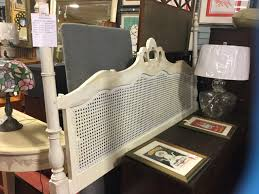 king off white painted cane headboard consignment furniture depot