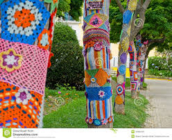 yarn bombing in trees european park stock image image 43326349