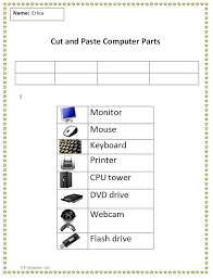 cut and paste computer parts worksheet example computer