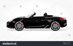 cartoon convertible car detailed side flat black convertible car stock vector 687382360