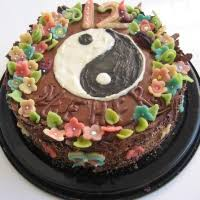 yin yang chocolate cake with marzipan decorations recipe