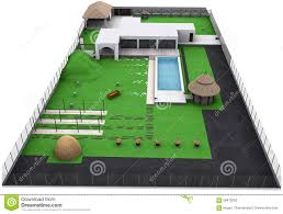 landscaping country style backyard aerial view 3d render stock