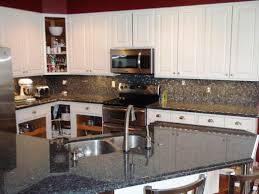 granite countertop white kitchen glass cabinets backsplash stick