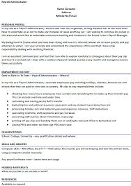 Interest And Hobbies For Resume Examples by Payroll Administrator Cv Example Icover Org Uk