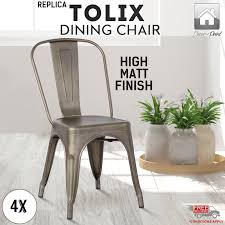 Tolix Dining Chairs 4 X Replica New Tolix Dining Chair Xavier Metal Steel Home Café