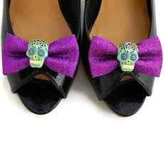 purple sugar skull shoe glitter bow and green skull