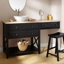 long black wooden vanity with drawers and shelf connected with