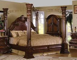 Caledonian Traditional Dark Brown Cherry California King Poster - California king size canopy bedroom sets