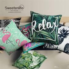 custom made white linen material throw pillows tropical plant
