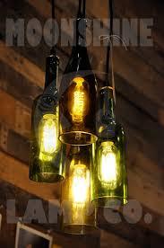 Wine Bottle Light Fixtures 4 Light Chandelier Recycled Wine Bottle Pendant Lamp Hanging
