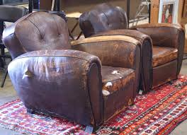 french art deco leather club chairs