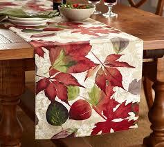 pottery barn table linens windswept leaves table runner pottery barn
