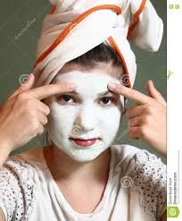 teenager pretty with blue clue mask stock photo image 80906358