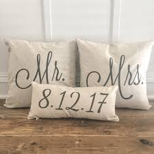 mr u0026 mrs custom pillow cover with wedding date 100 linen