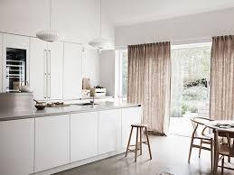 Curtains For Big Kitchen Windows by Minimalist Scandinavian Kitchen Open Plan Living Space Big Windows With Curtains Jpg