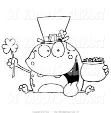 vector clip art of a coloring page of a leprechaun toad by hit