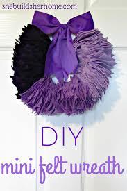 different color purples she builds her home mini felt wreath tutorial