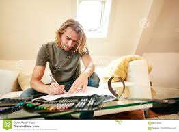Couch Drawing Young Man On Couch Drawing In Coloring Book Stock Photo Image