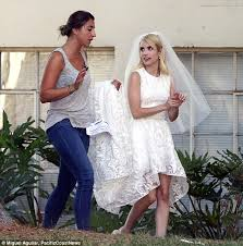 the last song wedding dress spotted wearing white lace wedding dress on set of
