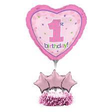 1st birthday girl air filled balloons centrepiece kit 1st birthday girl