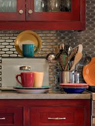 red cabinets kitchen glass tile backsplash ideas pictures tips from hgtv kitchen