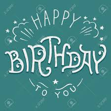 happy birthday to you hand lettering design for greeting card