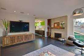 floating media cabinet living room modern with area rug ceiling