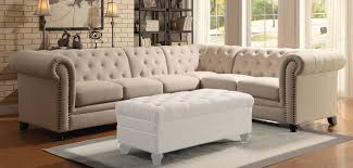 Tufted Sofa Sectional Roy Collection Oatmeal Linen Fabric Button Tufted Sofa Sectional W