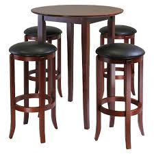high table with stools 5 piece fiona high table set with 4 swivel stools wood antique