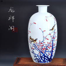 blue and white porcelain vase painted freehand jingdezhen
