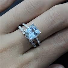 Aquamarine Wedding Rings by Wedding Sets Aquamarine Ring Set K Gold Round Aquamarine