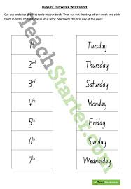 days of the week worksheet ordering