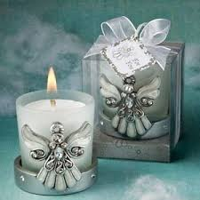 christening party favors 60 regal silver angel candle holder baby shower christening party
