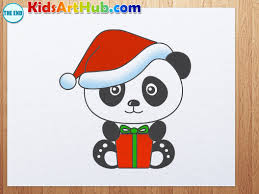 how to draw panda with christmas hat and gift youtube