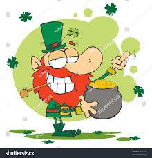 leprechaun holding pot gold flipping his stock illustration