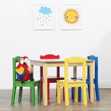 Kids Wood Table And Chair Set Tot Tutors Primary 5 Piece Kids Natural Table And Chair Set Tc715
