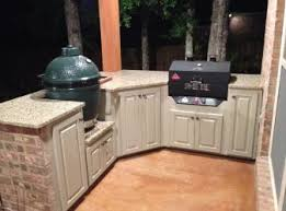 Outdoor Kitchen Cabinets Diy Agreeable Outdoor Kitchen With Green Egg Modules Packages Cabinets
