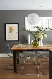 rustic modern gray dining room with rustic table also acrylic