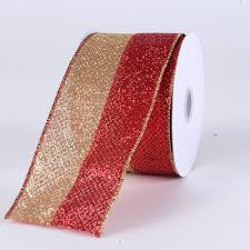 christmas ribbons gold two sided glitter christmas ribbons