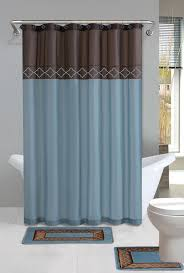 Brown Floral Shower Curtain Blue And Brown Bathroom Bath Shower Curtain And Bath Rug Set