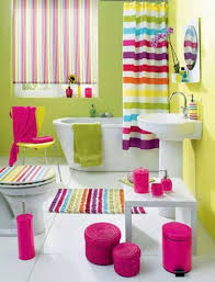 bright bathroom ideas green wall and striped shower curtain for colorful bathroom ideas