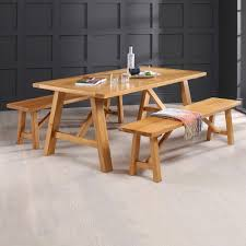 Oak Dining Table Bench Bench Trestle Dining Table With Benches Beginnings Trestle Table