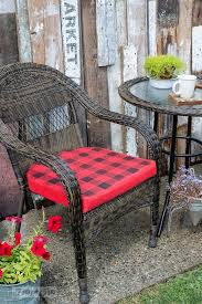 how to buffalo check plain red cushions for a cabin inspired