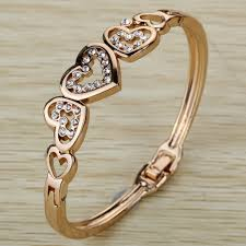 bangle bracelet with heart images Cute rose gold five hollow heart carve crystal chain link bangle jpg