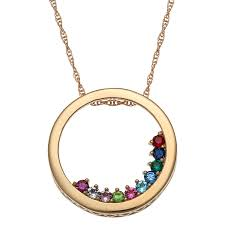 birthstone mothers necklace circle slider birthstone necklace for